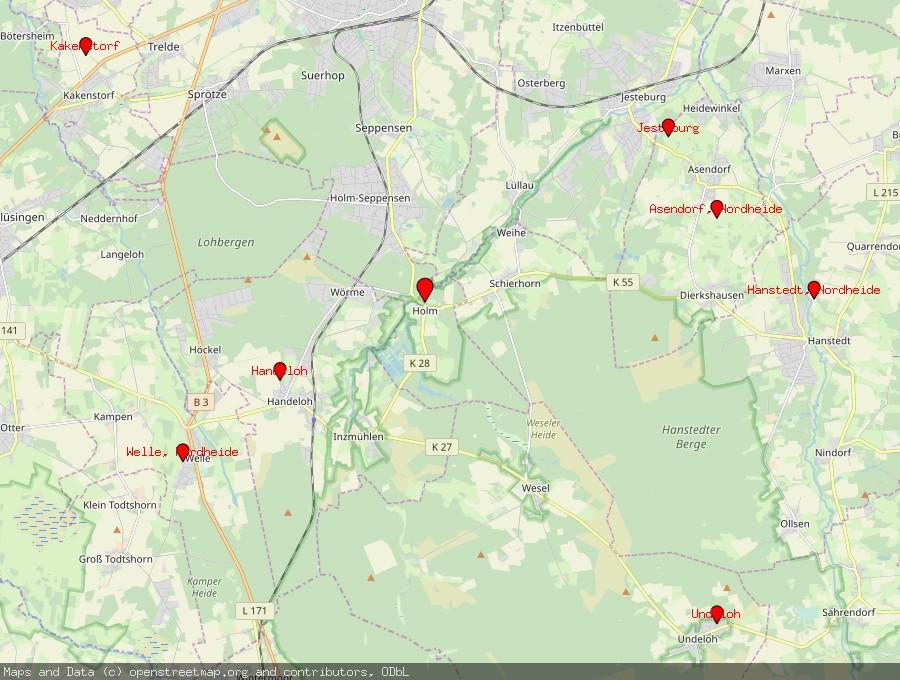 Landkarte von Buchholz in der Nordheide