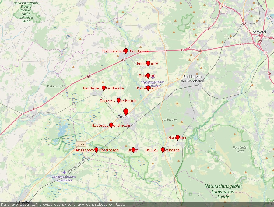 Landkarte von Tostedt
