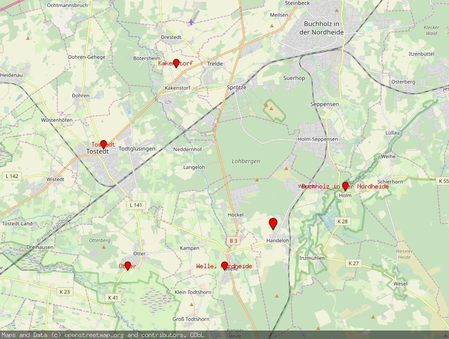 Landkarte von Handeloh