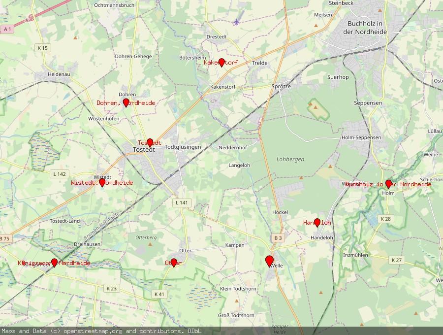 Landkarte von Welle, Nordheide