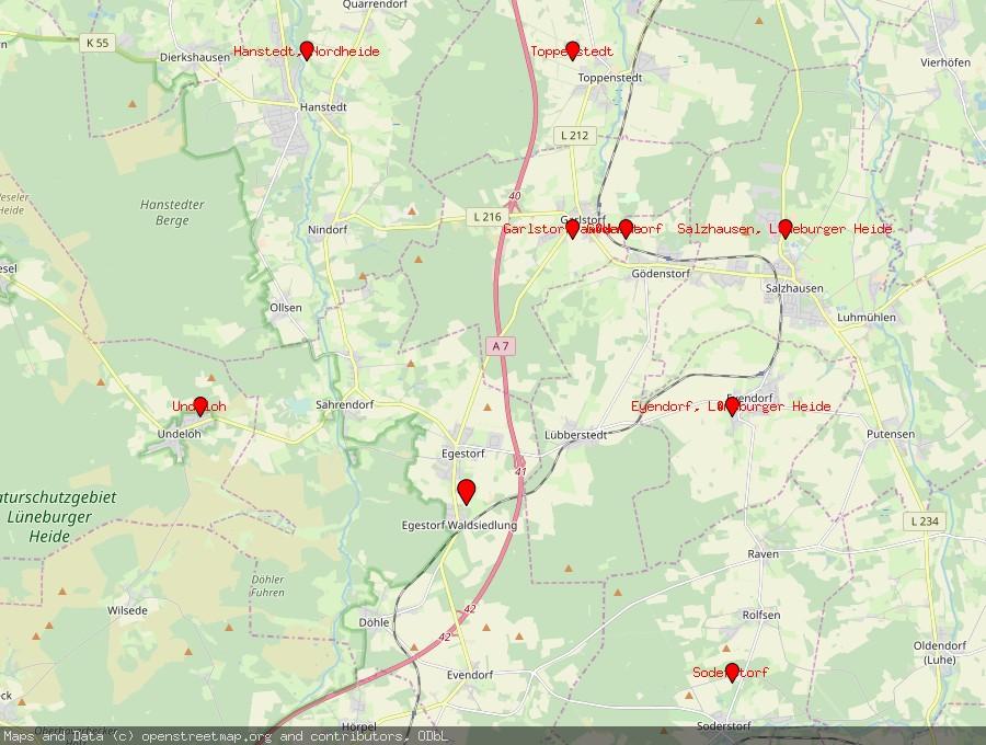 Landkarte von Egestorf, Nordheide