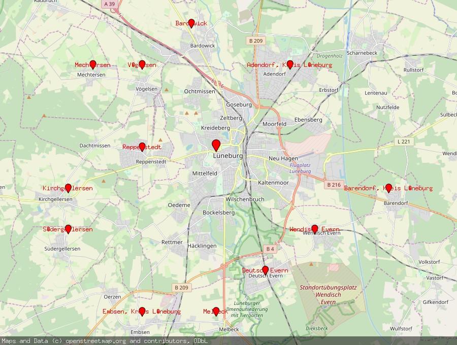 Landkarte von Lüneburg