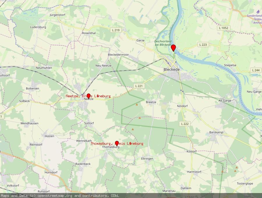 Landkarte von Bleckede
