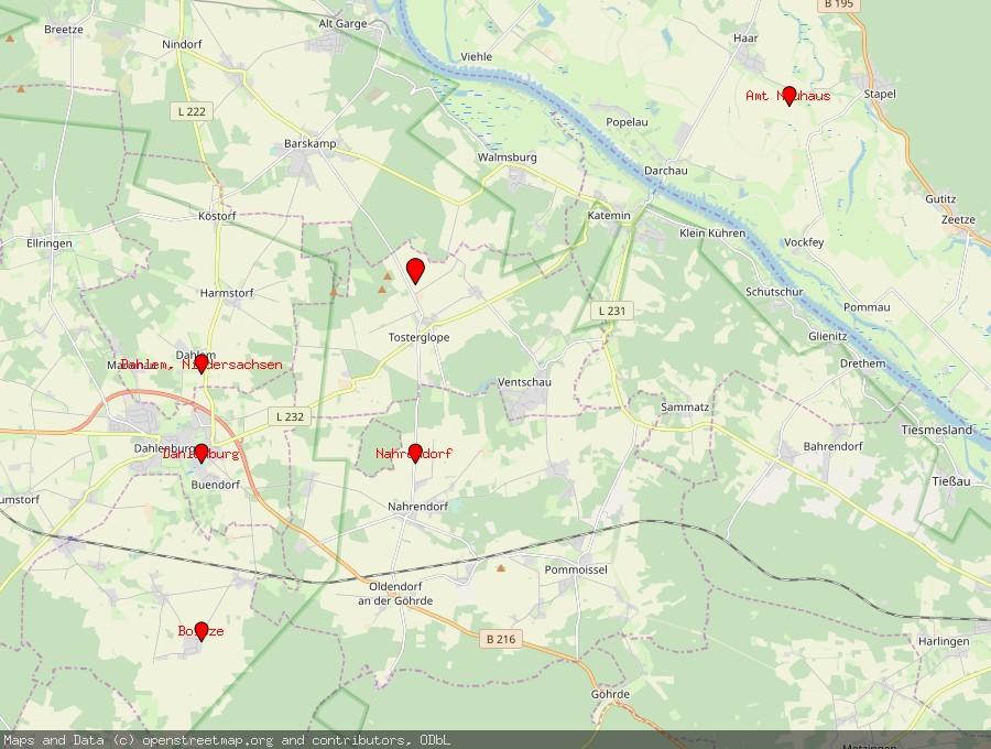 Landkarte von Tosterglope
