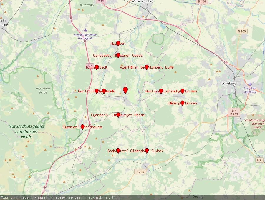 Landkarte von Salzhausen, Lüneburger Heide