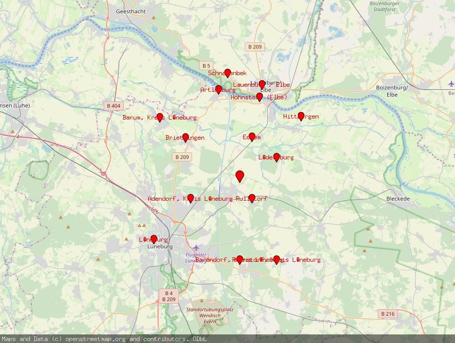 Landkarte von Scharnebeck bei Lüneburg