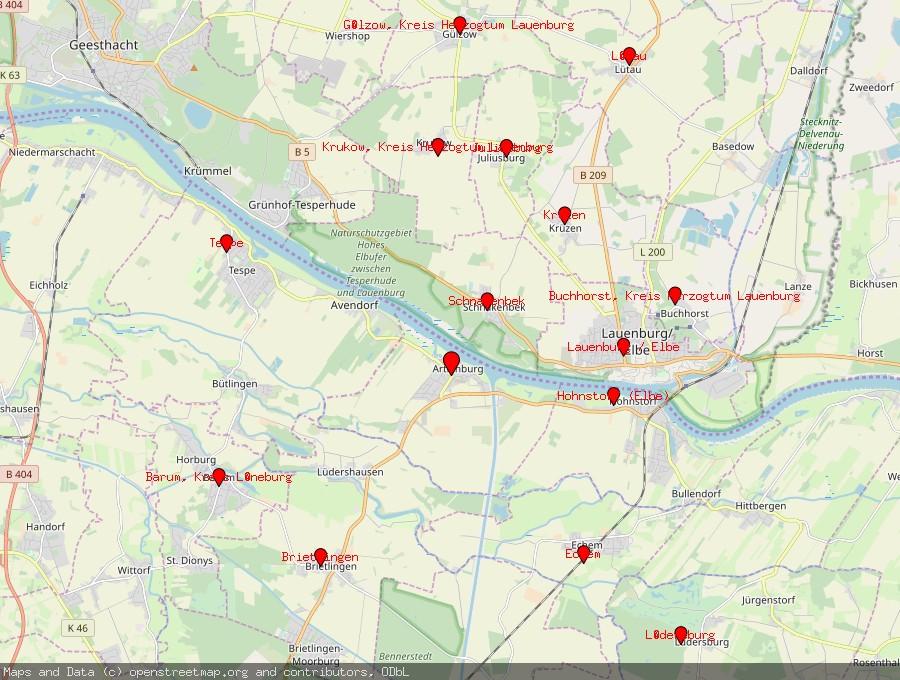 Landkarte von Artlenburg