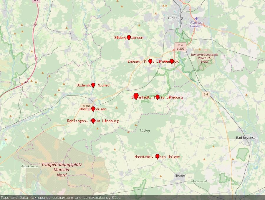 Landkarte von Betzendorf, Kreis Lüneburg