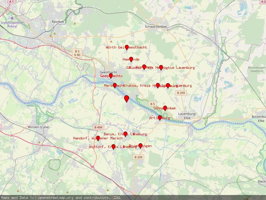 Landkarte von Tespe