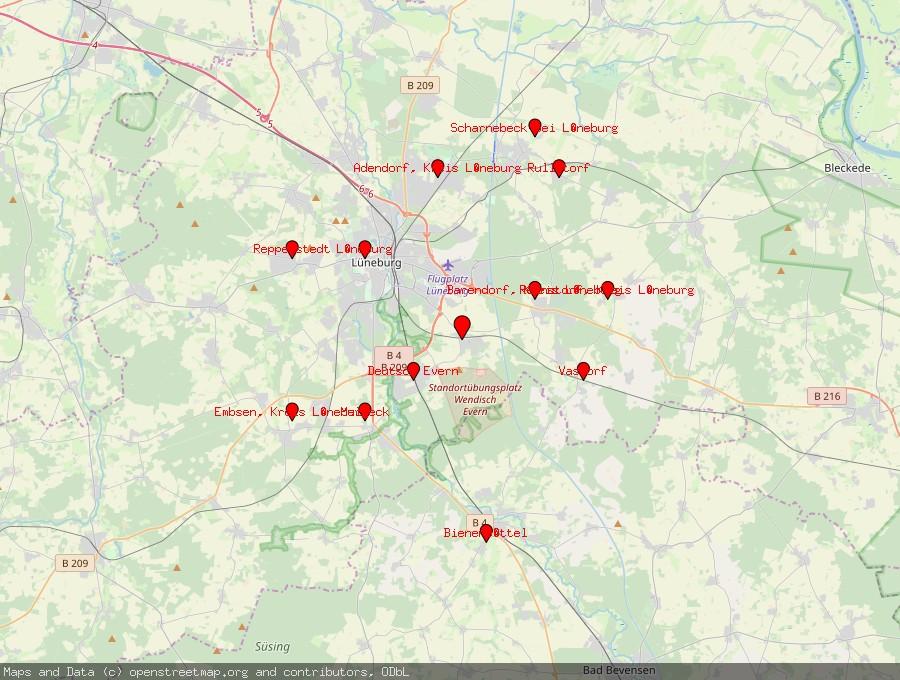 Landkarte von Wendisch Evern
