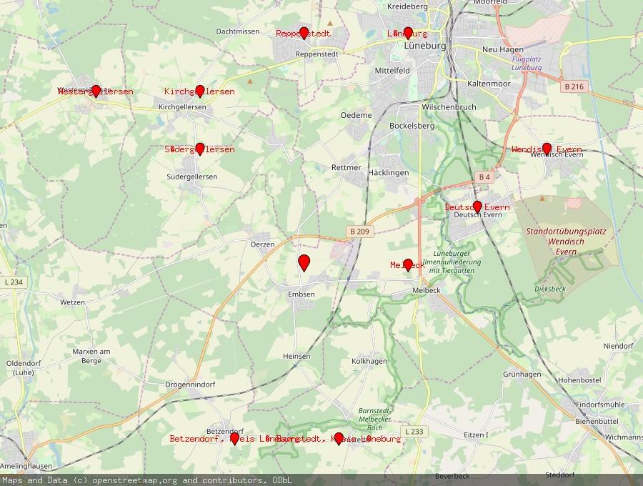 Landkarte von Embsen, Kreis Lüneburg