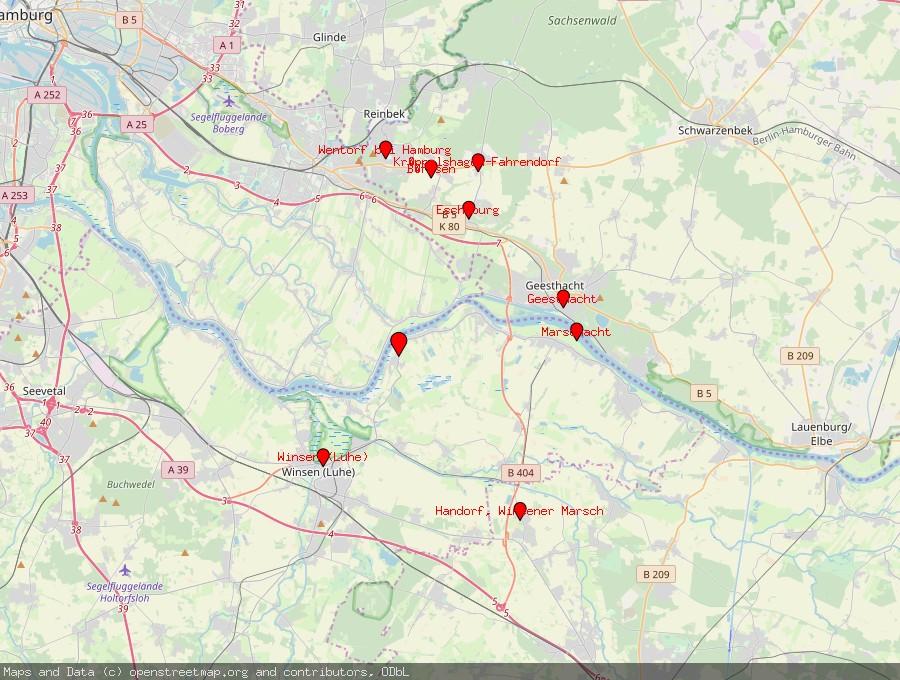 Landkarte von Drage, Elbe