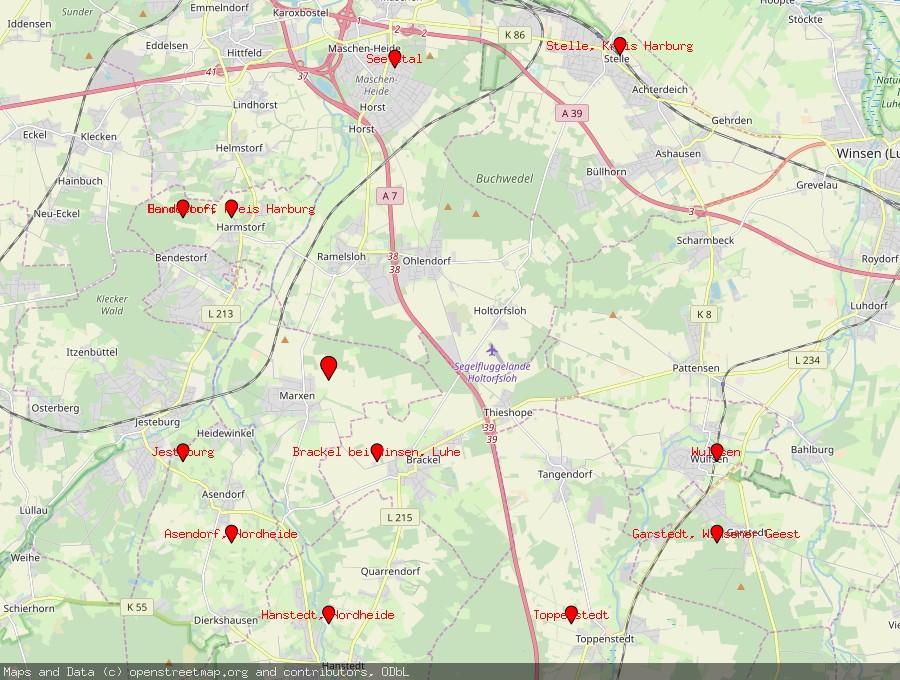 Landkarte von Marxen, Auetal