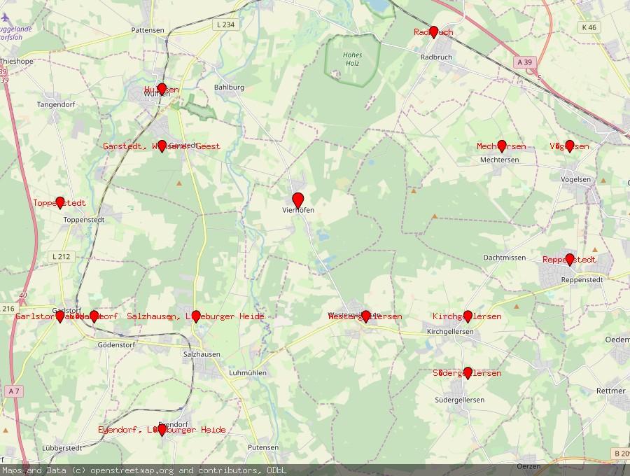 Landkarte von Vierhöfen bei Winsen, Luhe