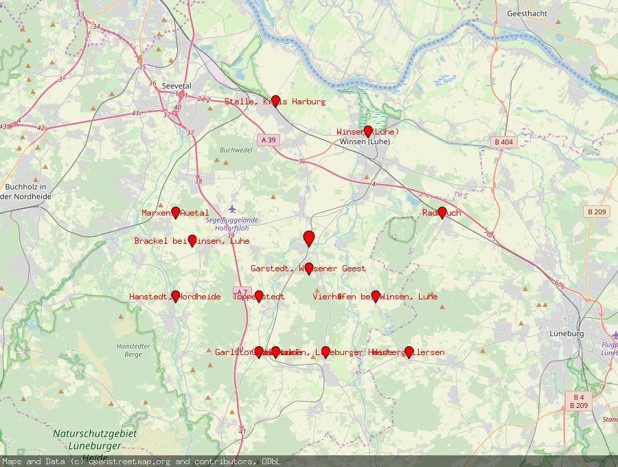Landkarte von Wulfsen