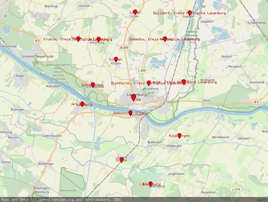 Landkarte von Lauenburg / Elbe