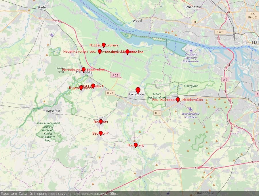 Landkarte von Buxtehude