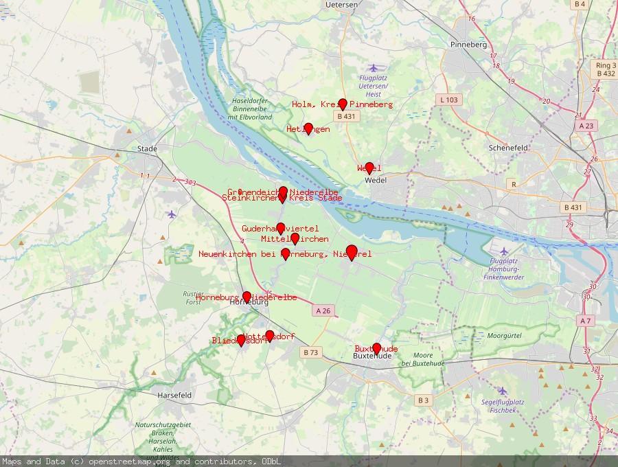 Landkarte von Jork, Niederelbe
