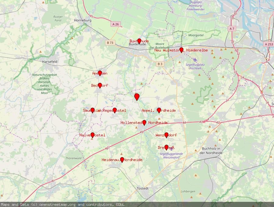Landkarte von Moisburg
