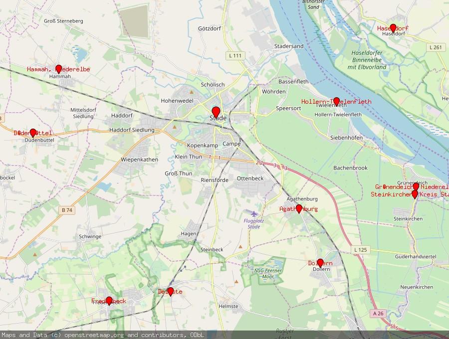 Landkarte von Stade, Niederelbe