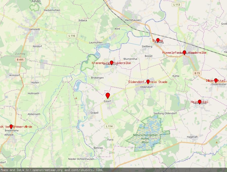 Landkarte von Estorf, Kreis Stade