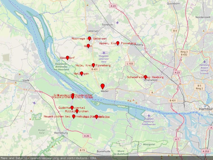 Landkarte von Wedel