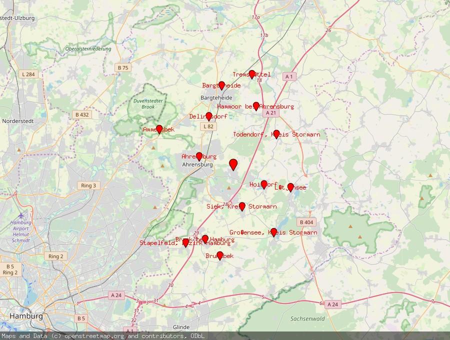 Landkarte von Großhansdorf
