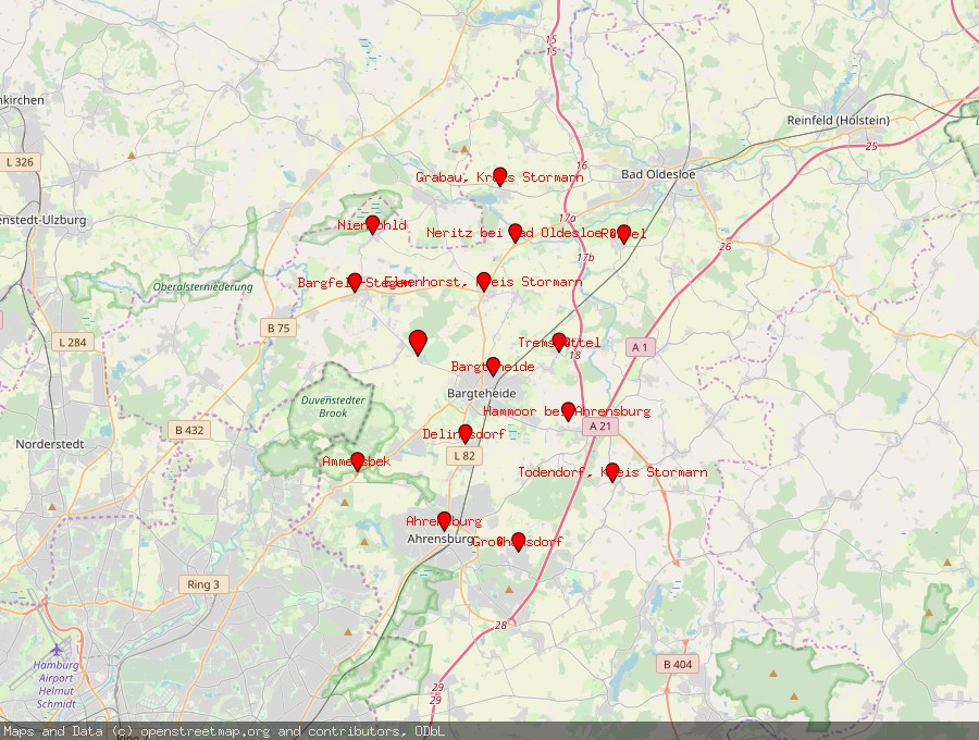 Landkarte von Jersbek