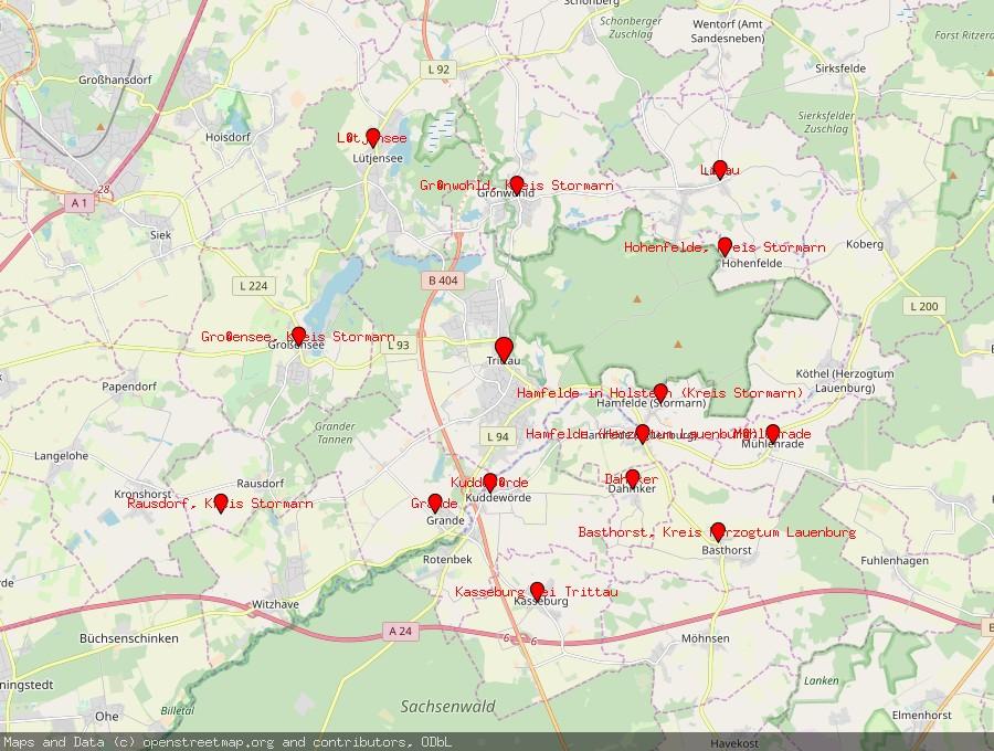 Landkarte von Trittau