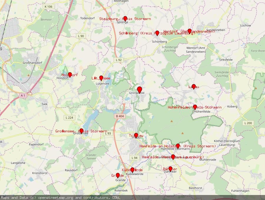 Landkarte von Grönwohld, Kreis Stormarn