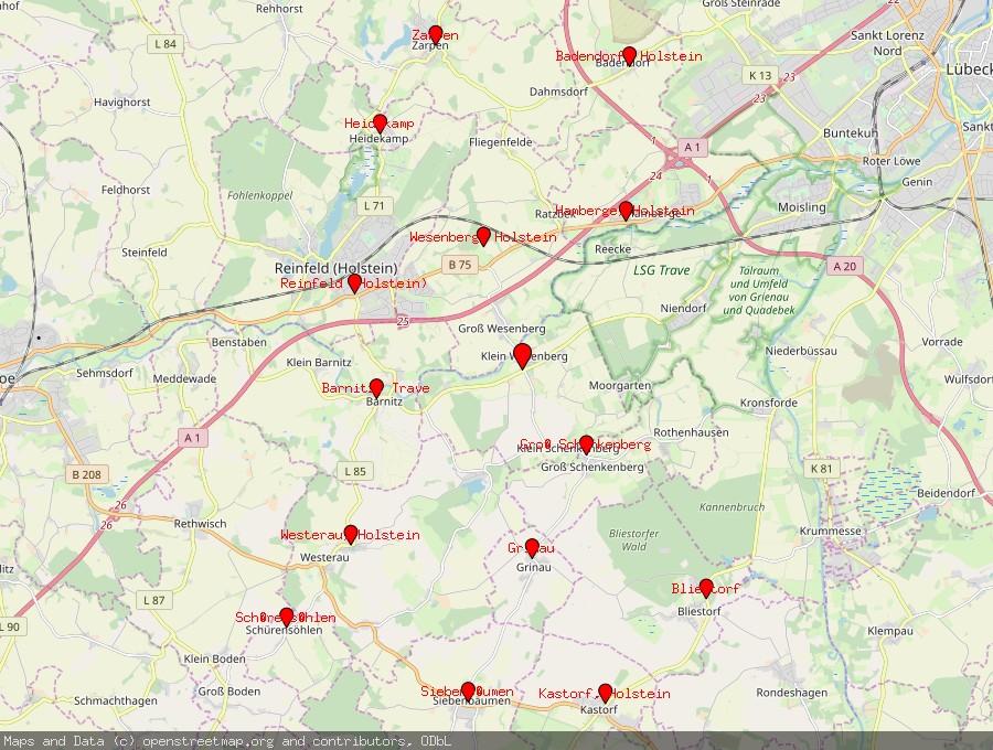 Landkarte von Klein Wesenberg