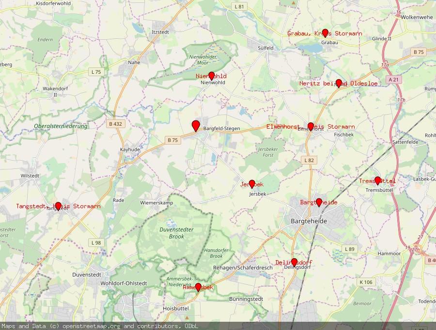 Landkarte von Bargfeld-Stegen