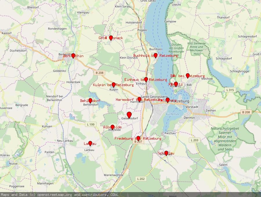 Landkarte von Giesensdorf bei Ratzeburg