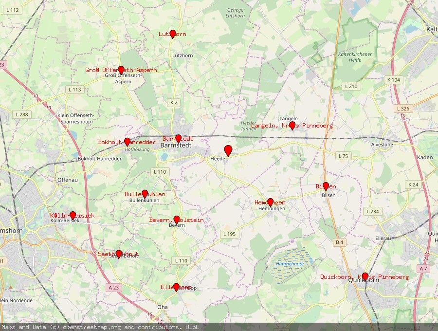 Landkarte von Heede bei Barmstedt