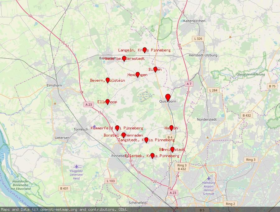 Landkarte von Quickborn, Kreis Pinneberg