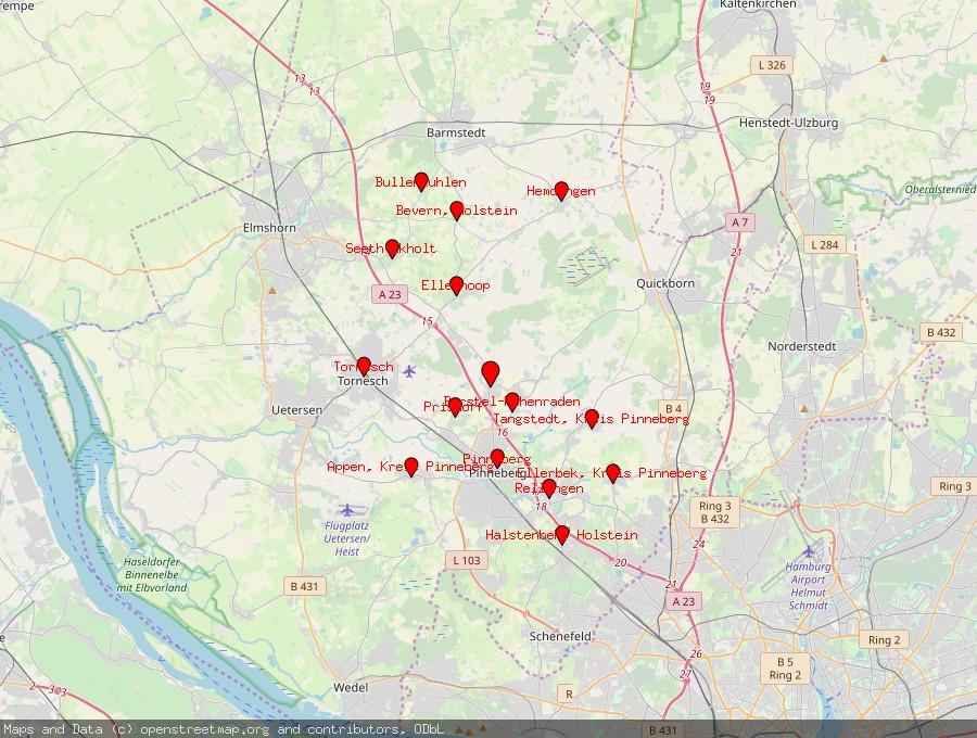 Landkarte von Kummerfeld bei Pinneberg