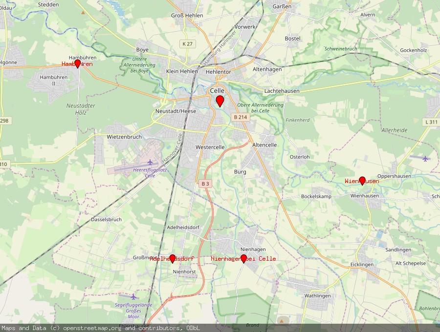 Landkarte von Celle