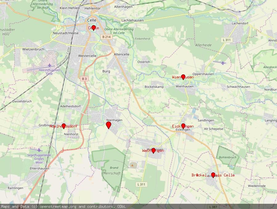 Landkarte von Nienhagen bei Celle