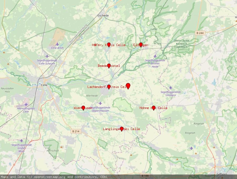 Landkarte von Ahnsbeck