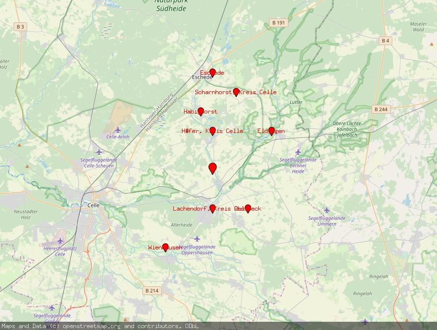 Landkarte von Beedenbostel