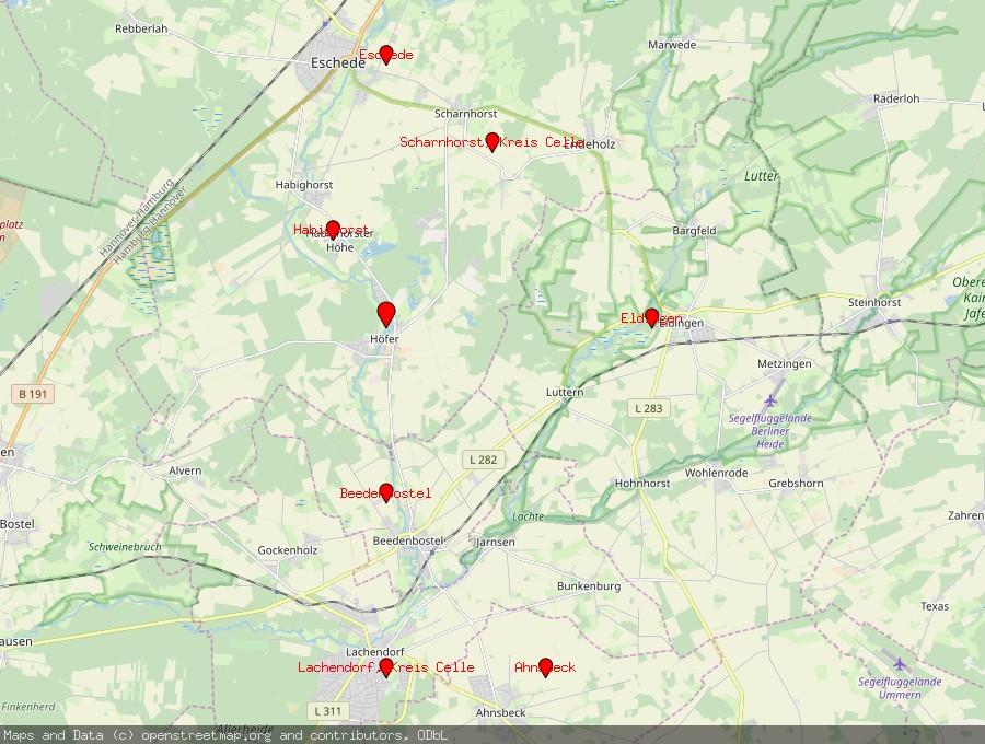 Landkarte von Höfer, Kreis Celle