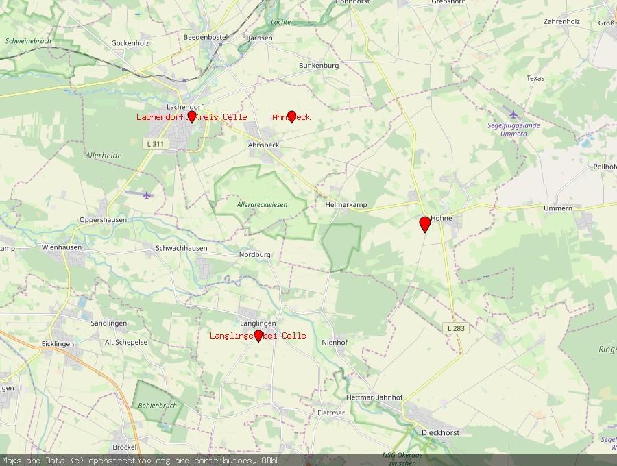 Landkarte von Hohne bei Celle