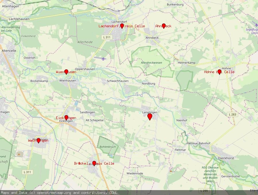 Landkarte von Langlingen bei Celle