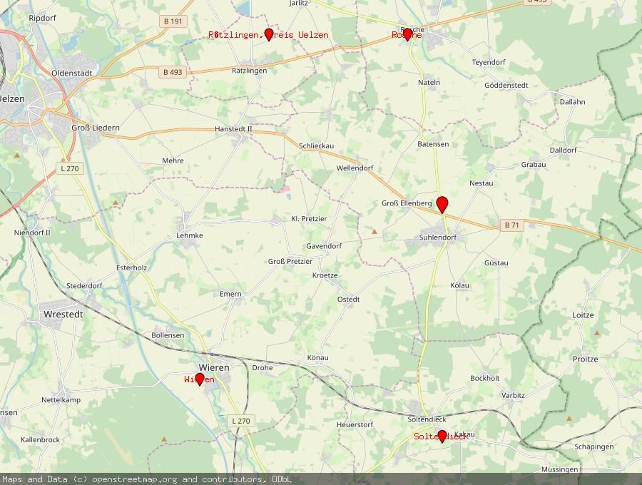 Landkarte von Suhlendorf