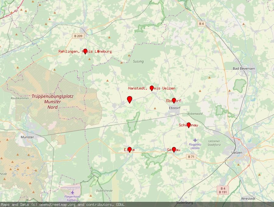 Landkarte von Wriedel