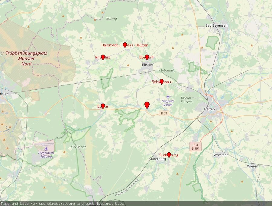 Landkarte von Gerdau
