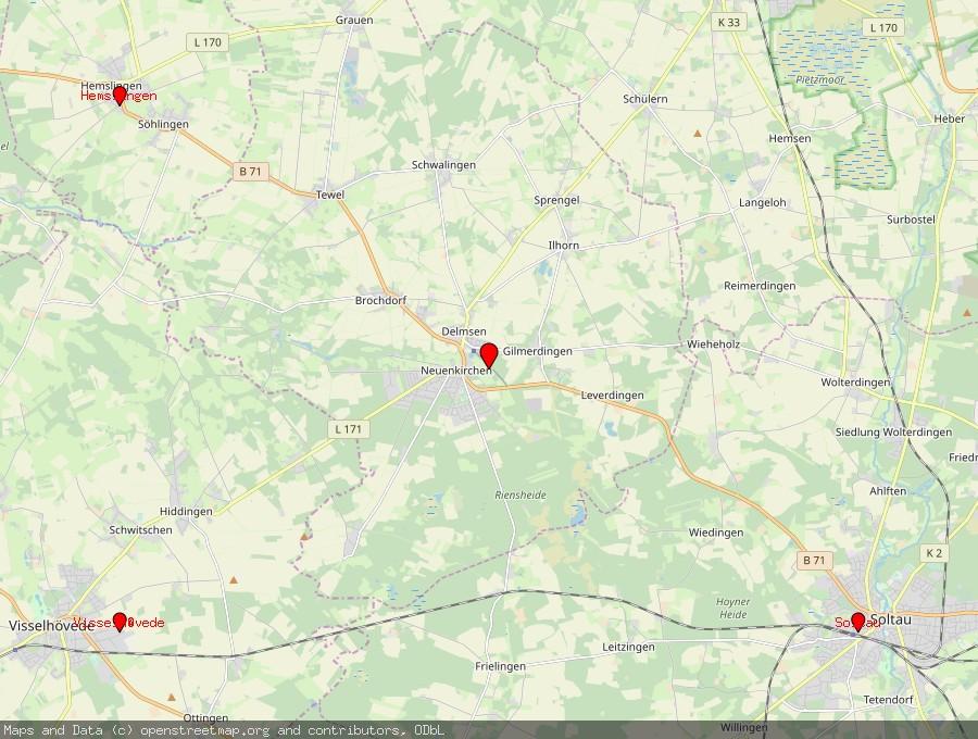 Landkarte von Neuenkirchen, Lüneburger Heide