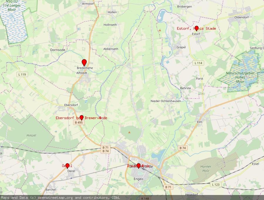 Landkarte von Alfstedt bei Bremervörde