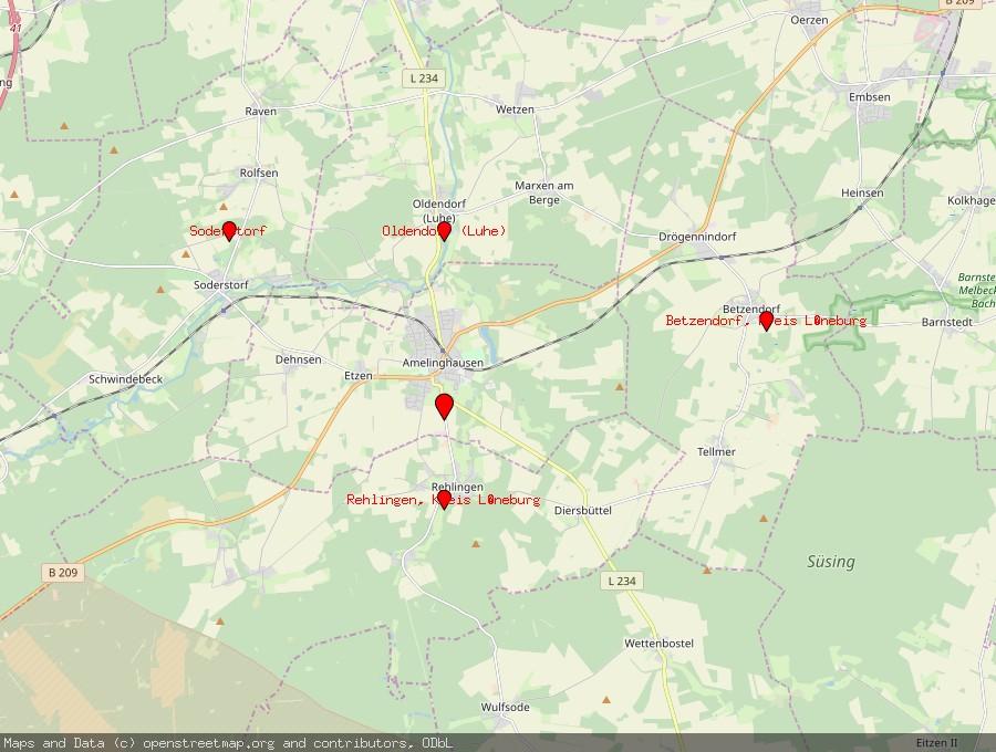 Landkarte von Amelinghausen