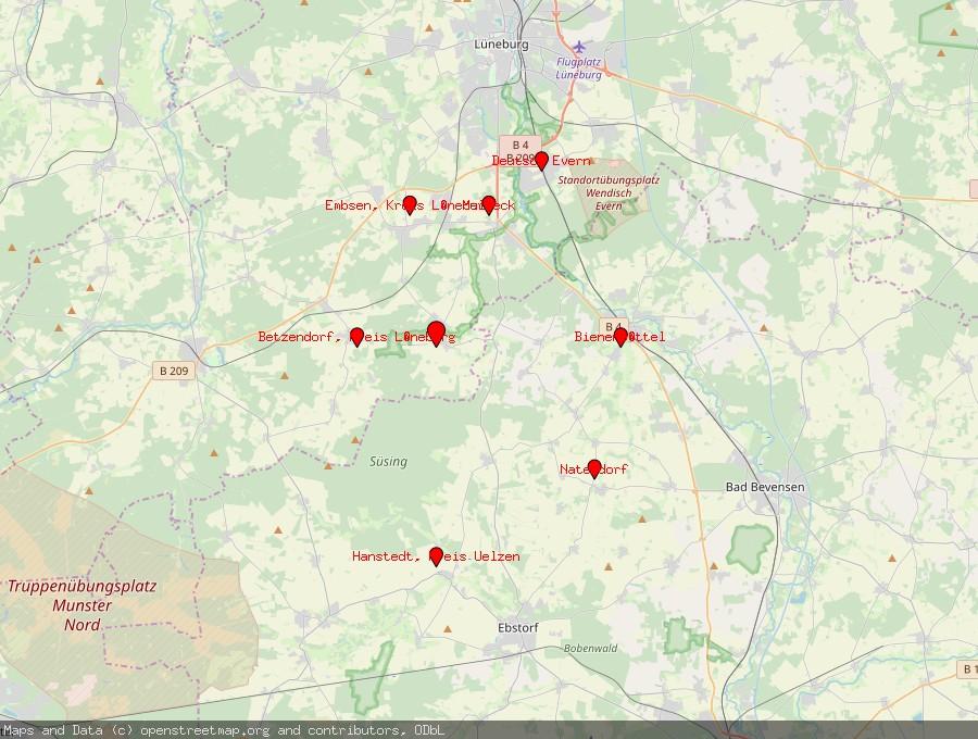 Landkarte von Barnstedt, Kreis Lüneburg